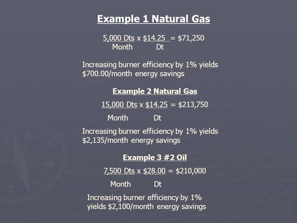 Example 1 Natural Gas 5,000 Dts x $14.25 = $71,250 Month Dt Increasing burner efficiency by 1% yields $700.00/month energy savings Example 2 Natural G
