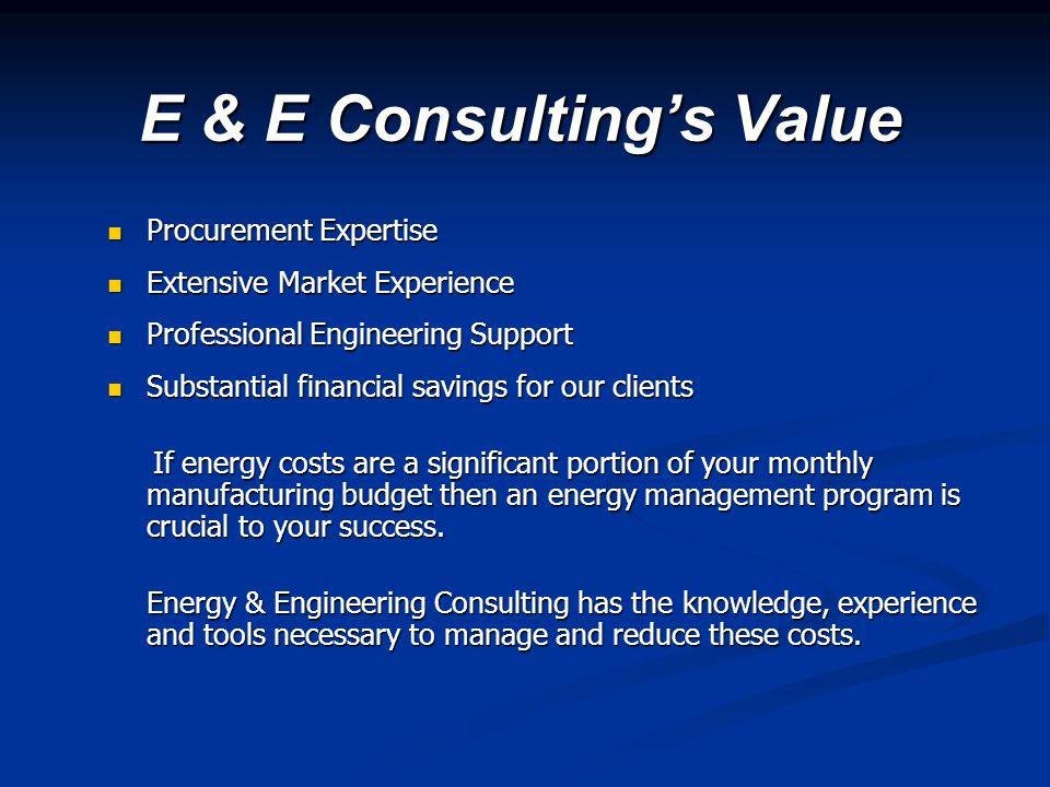 E & E Consulting's Value Procurement Expertise Procurement Expertise Extensive Market Experience Extensive Market Experience Professional Engineering