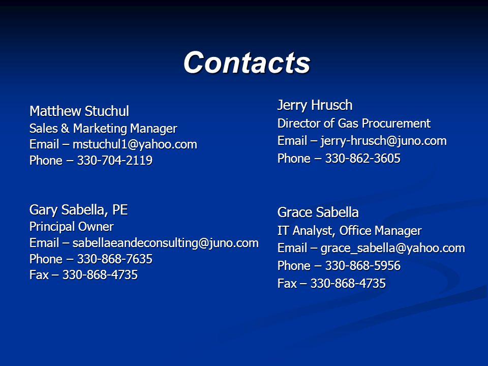 Contacts Matthew Stuchul Sales & Marketing Manager Email – mstuchul1@yahoo.com Phone – 330-704-2119 Gary Sabella, PE Principal Owner Email – sabellaea