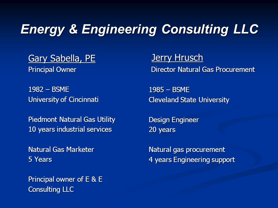 Energy & Engineering Consulting LLC Grace Sabella IT Analyst Office Manager Residual Fuels Procurement Matthew Stuchul Manager Sales & Marketing Natural gas procurement support