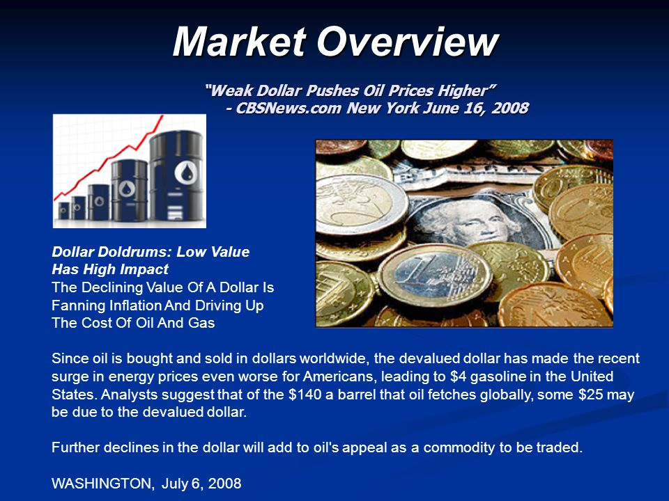 "Market Overview ""Weak Dollar Pushes Oil Prices Higher"" - CBSNews.com New York June 16, 2008 - CBSNews.com New York June 16, 2008 Dollar Doldrums: Low"