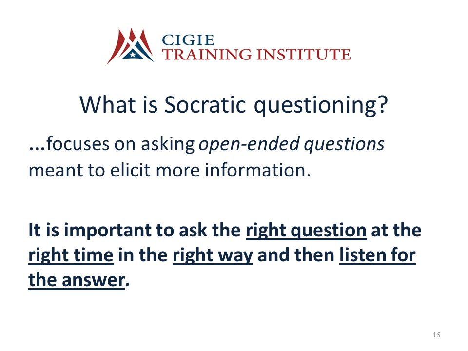 What is Socratic questioning.