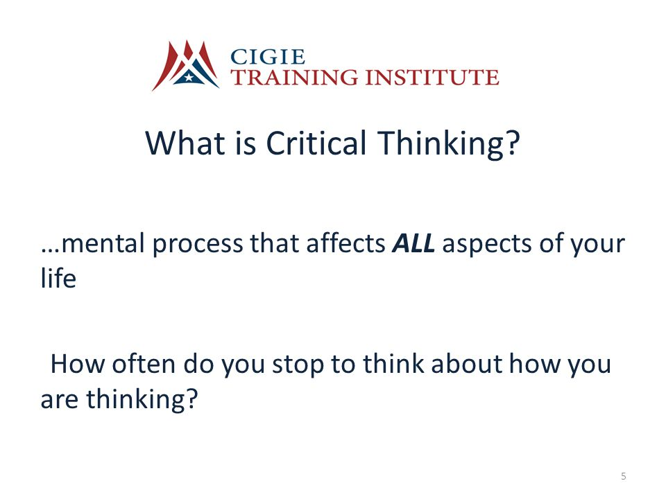 What is Critical Thinking.