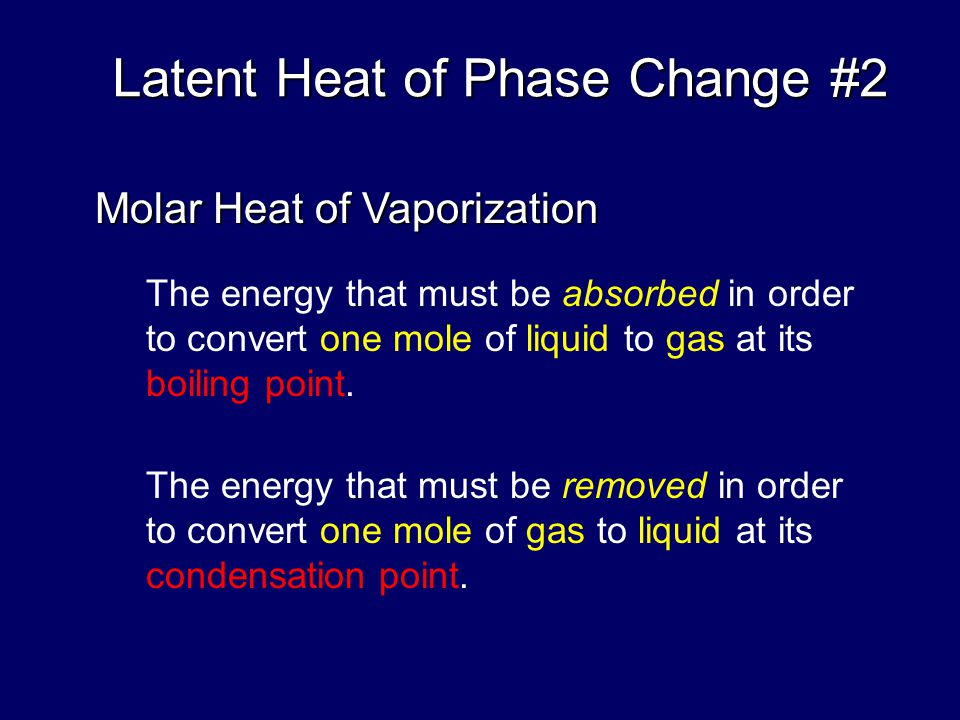 The energy that must be absorbed in order to convert one mole of solid to liquid at its melting point. Latent Heat of Phase Change Molar Heat of Fusio