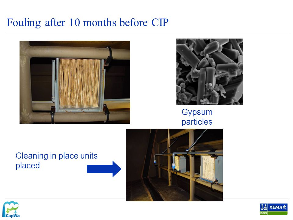 Fouling after 10 months before CIP Gypsum particles Cleaning in place units placed