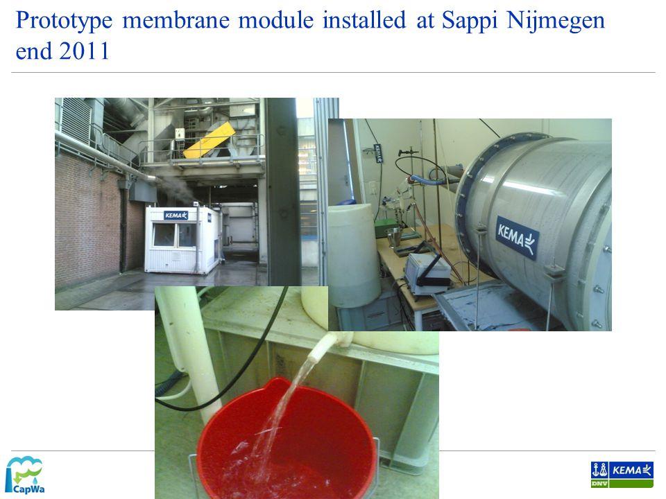 Prototype membrane module installed at Sappi Nijmegen end 2011