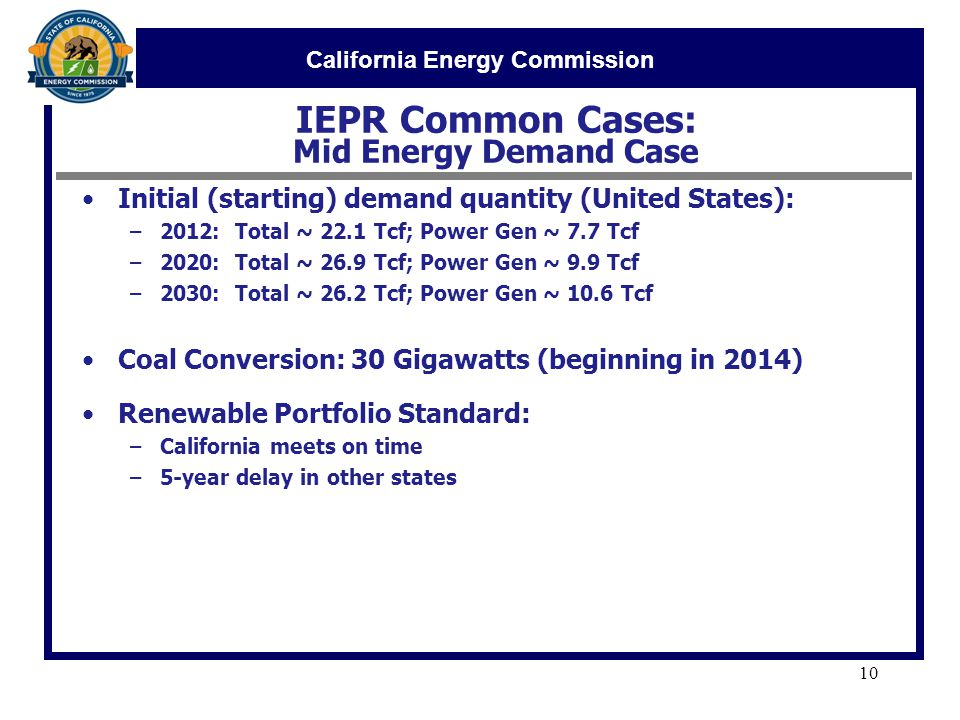 California Energy Commission IEPR Common Cases: Mid Energy Demand Case 10 Initial (starting) demand quantity (United States): –2012: Total ~ 22.1 Tcf; Power Gen ~ 7.7 Tcf –2020: Total ~ 26.9 Tcf; Power Gen ~ 9.9 Tcf –2030: Total ~ 26.2 Tcf; Power Gen ~ 10.6 Tcf Coal Conversion: 30 Gigawatts (beginning in 2014) Renewable Portfolio Standard: –California meets on time –5-year delay in other states