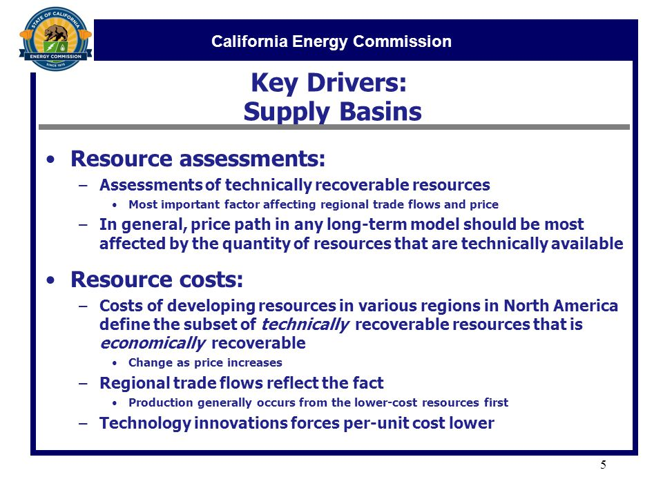 California Energy Commission Key Drivers: Supply Basins Resource assessments: –Assessments of technically recoverable resources Most important factor affecting regional trade flows and price –In general, price path in any long-term model should be most affected by the quantity of resources that are technically available Resource costs: –Costs of developing resources in various regions in North America define the subset of technically recoverable resources that is economically recoverable Change as price increases –Regional trade flows reflect the fact Production generally occurs from the lower-cost resources first –Technology innovations forces per-unit cost lower 5