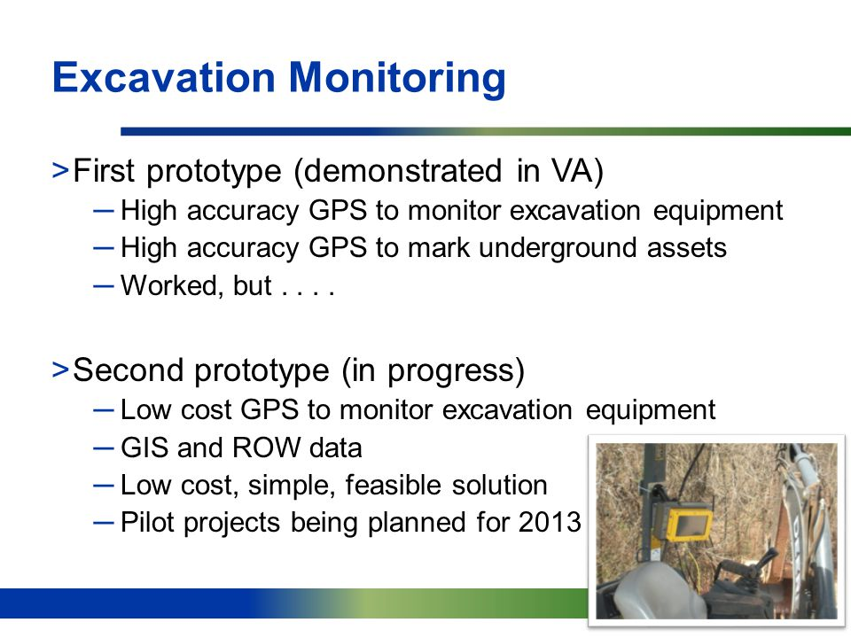 20 Excavation Monitoring >First prototype (demonstrated in VA) ─High accuracy GPS to monitor excavation equipment ─High accuracy GPS to mark undergrou