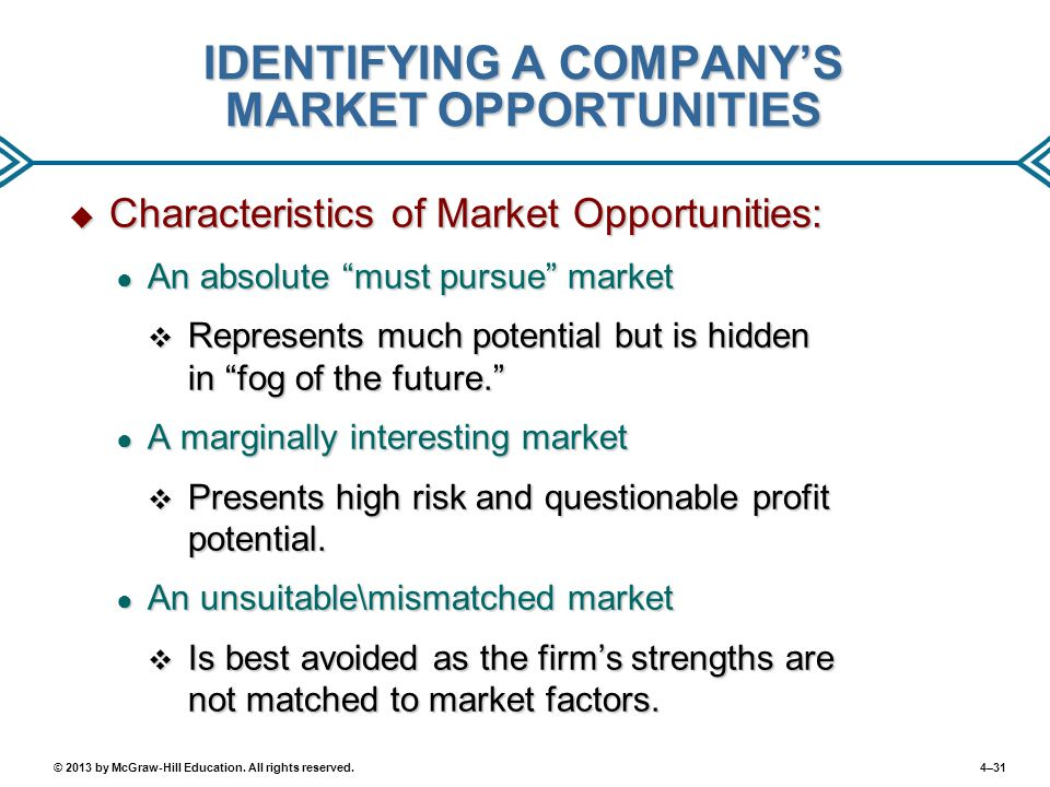 4–31© 2013 by McGraw-Hill Education. All rights reserved. IDENTIFYING A COMPANY'S MARKET OPPORTUNITIES  Characteristics of Market Opportunities: ● An