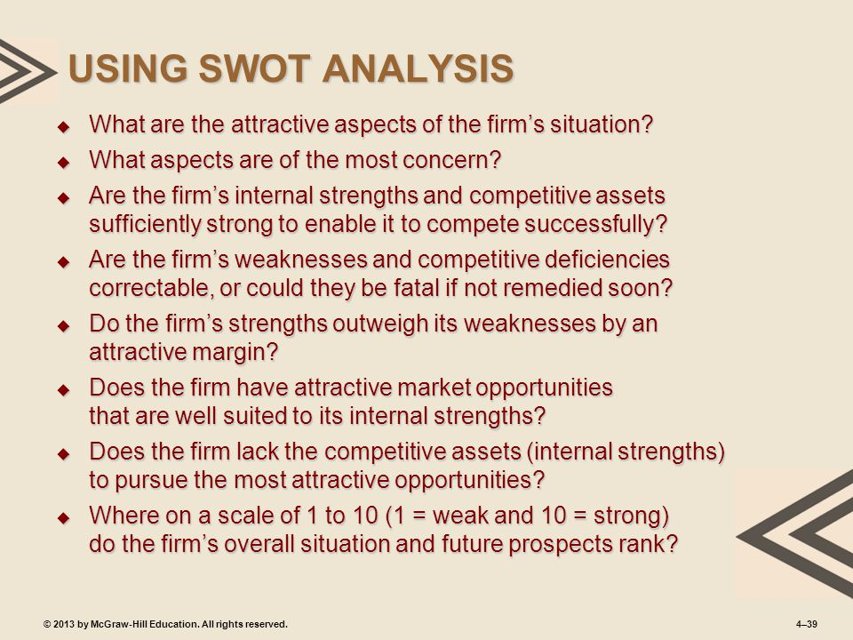 4–39© 2013 by McGraw-Hill Education. All rights reserved. USING SWOT ANALYSIS  What are the attractive aspects of the firm's situation?  What aspect