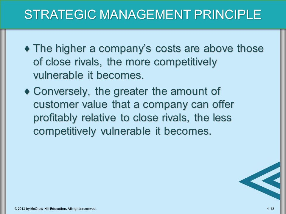 4–42© 2013 by McGraw-Hill Education. All rights reserved. STRATEGIC MANAGEMENT PRINCIPLE ♦The higher a company's costs are above those of close rivals