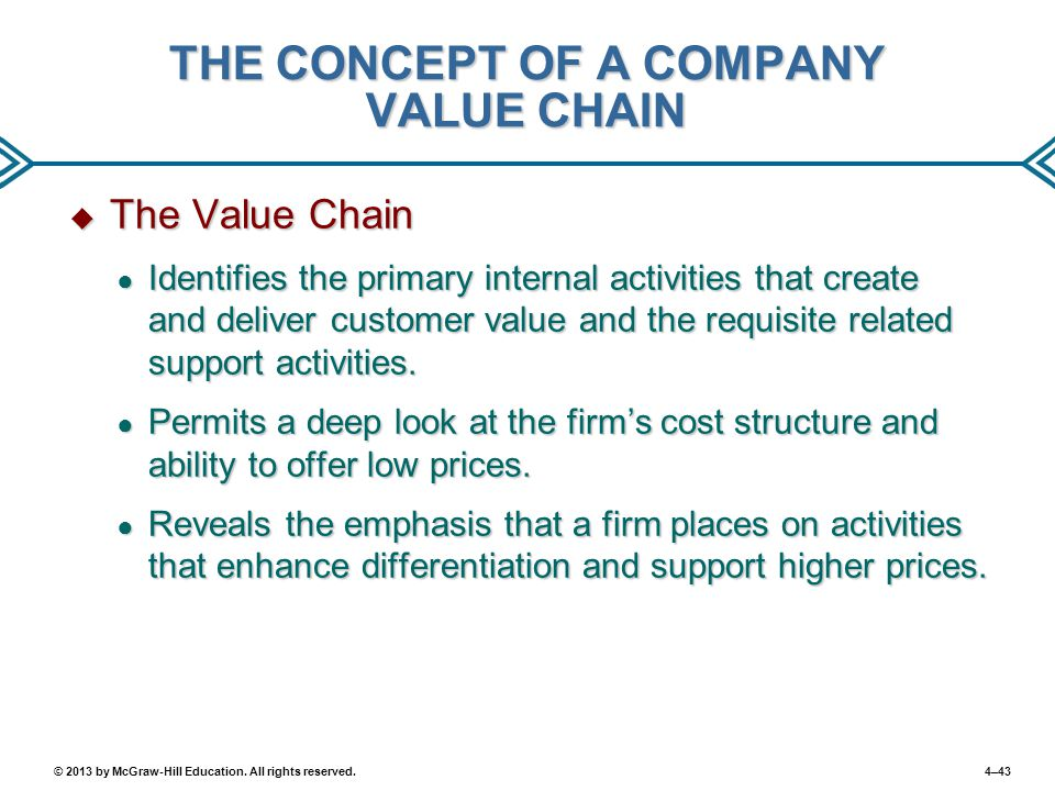 4–43© 2013 by McGraw-Hill Education. All rights reserved. THE CONCEPT OF A COMPANY VALUE CHAIN  The Value Chain ● Identifies the primary internal act