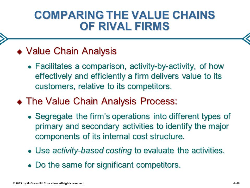 4–46© 2013 by McGraw-Hill Education. All rights reserved. COMPARING THE VALUE CHAINS OF RIVAL FIRMS  Value Chain Analysis ● Facilitates a comparison,
