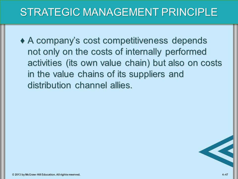 4–47© 2013 by McGraw-Hill Education. All rights reserved. STRATEGIC MANAGEMENT PRINCIPLE ♦A company's cost competitiveness depends not only on the cos