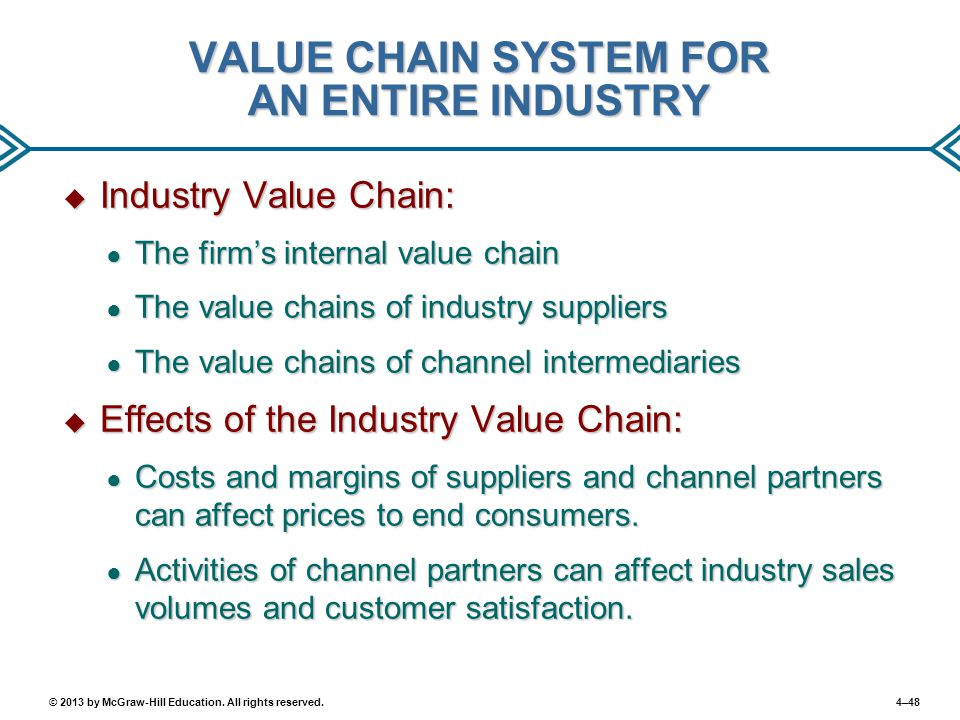 4–48© 2013 by McGraw-Hill Education. All rights reserved. VALUE CHAIN SYSTEM FOR AN ENTIRE INDUSTRY  Industry Value Chain: ● The firm's internal valu