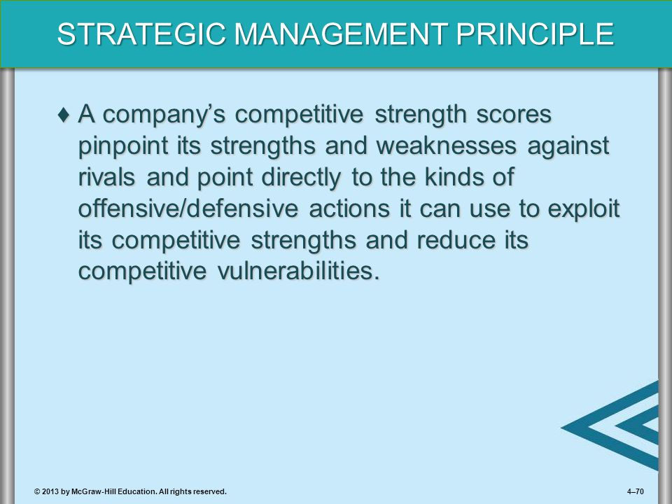 4–70© 2013 by McGraw-Hill Education. All rights reserved. STRATEGIC MANAGEMENT PRINCIPLE ♦A company's competitive strength scores pinpoint its strengt