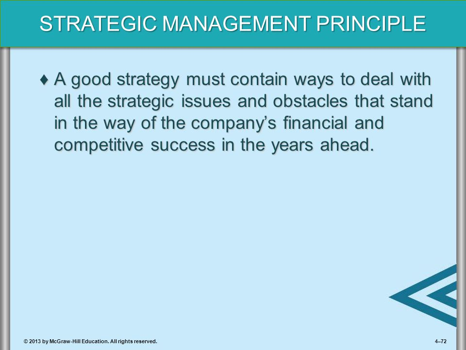 4–72© 2013 by McGraw-Hill Education. All rights reserved. STRATEGIC MANAGEMENT PRINCIPLE ♦A good strategy must contain ways to deal with all the strat