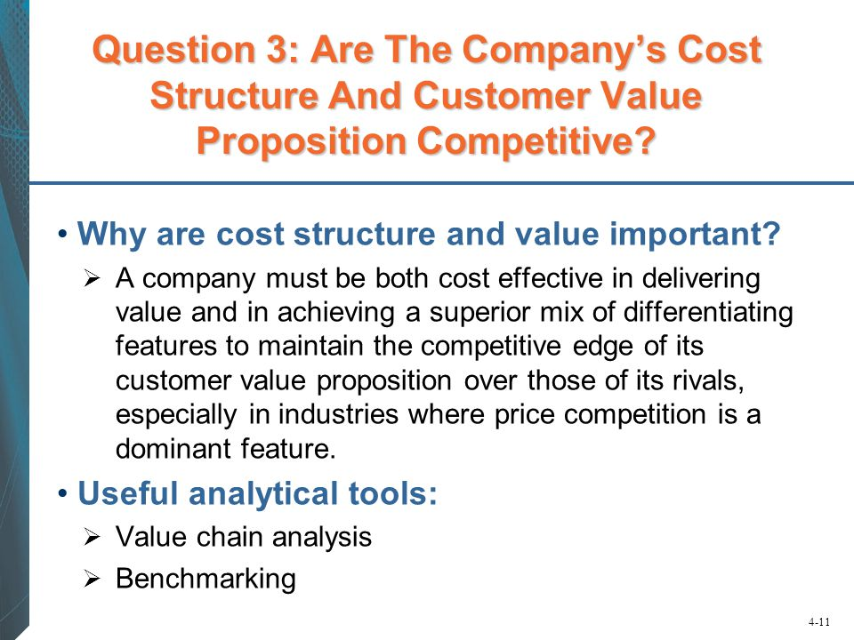 4-11 Question 3: Are The Company's Cost Structure And Customer Value Proposition Competitive? Why are cost structure and value important?  A company