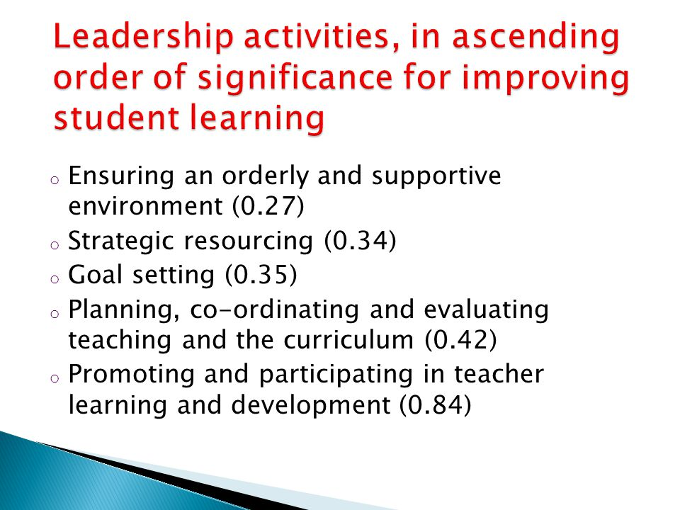 o Ensuring an orderly and supportive environment (0.27) o Strategic resourcing (0.34) o Goal setting (0.35) o Planning, co-ordinating and evaluating teaching and the curriculum (0.42) o Promoting and participating in teacher learning and development (0.84)