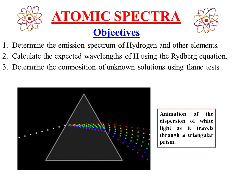 ATOMIC SPECTRA Objectives 1. Determine the emission spectrum of Hydrogen and other elements.