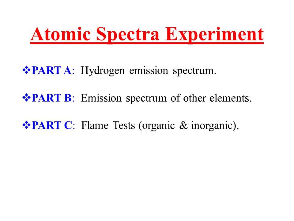 Atomic Spectra Experiment  PART A: Hydrogen emission spectrum.