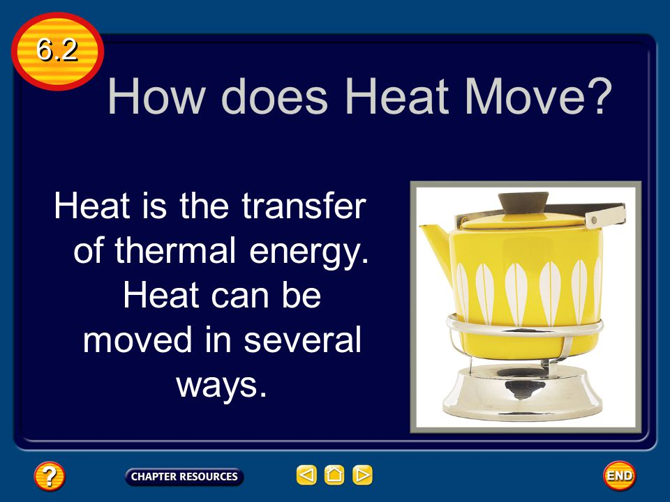 Heat Heat is thermal energy that flows from something at a higher temperature to something at a lower temperature. 6.2 The Nature of Heat Heat is a fo