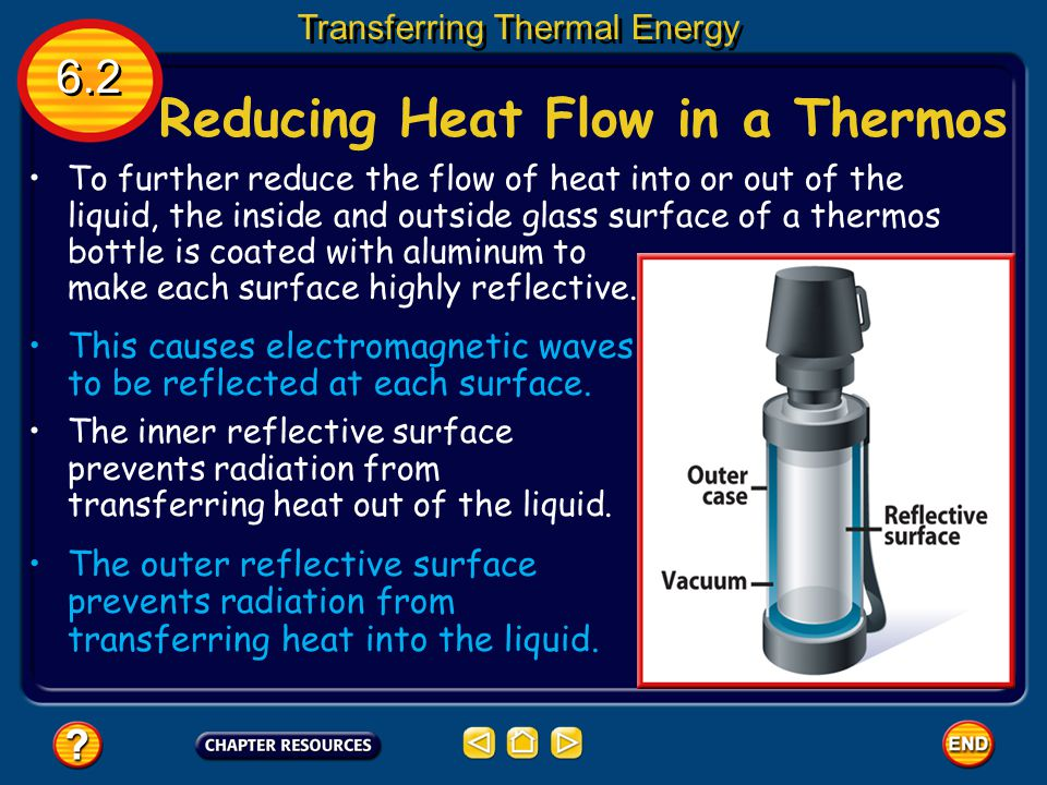 Reducing Heat Flow in a Thermos Transferring Thermal Energy A thermos bottle reduces the flow of heat into and out of the liquid in the bottle, so tha