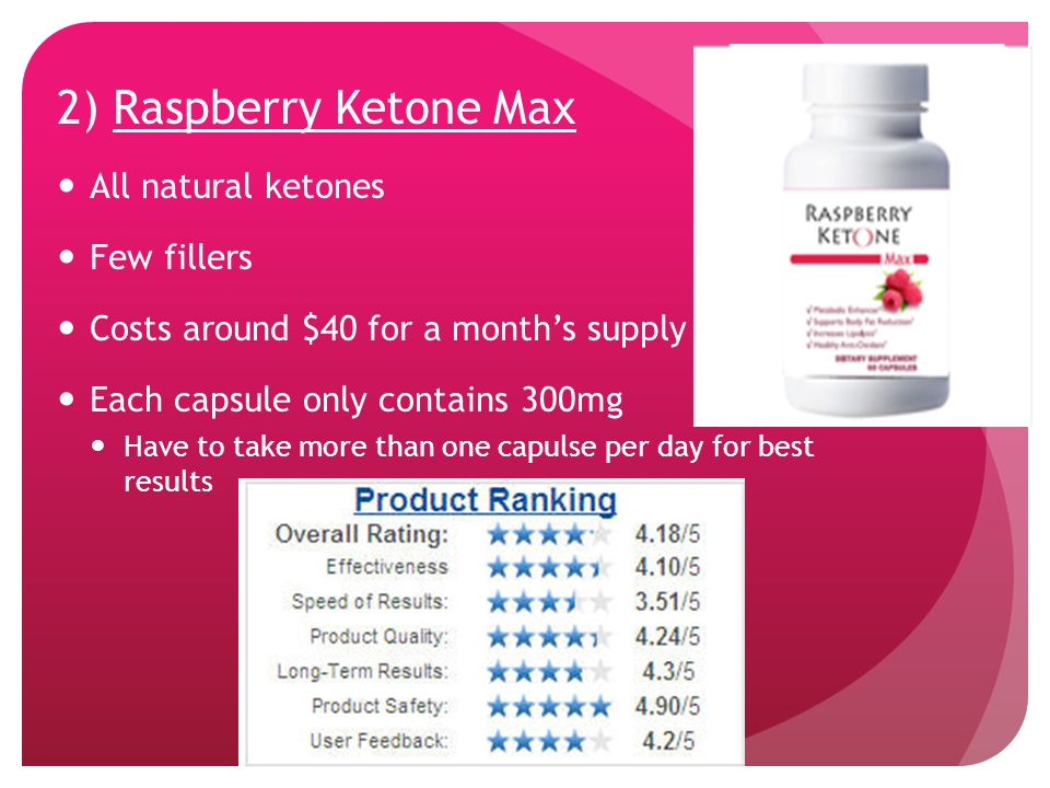 2) Raspberry Ketone Max All natural ketones Few fillers Costs around $40 for a month's supply Each capsule only contains 300mg Have to take more than one capulse per day for best results