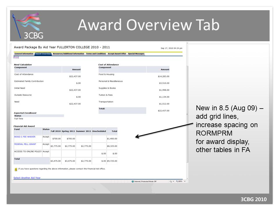 Award Overview Tab New in 8.5 (Aug 09) – add grid lines, increase spacing on RORMPRM for award display, other tables in FA