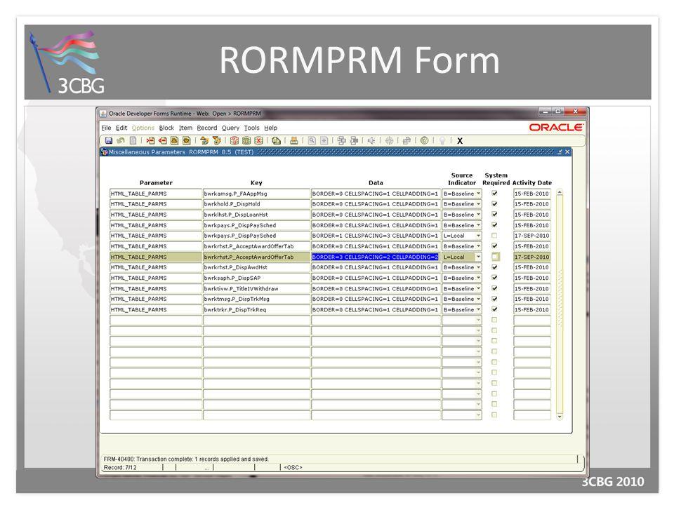 RORMPRM Form