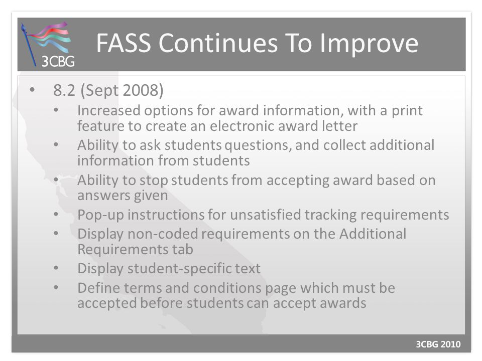 FASS Continues To Improve 8.5 (Aug.