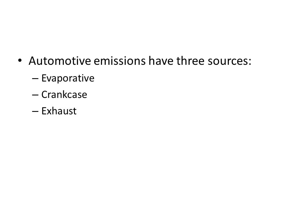 Types of Emission Exhaust Emission Evaporative Emission Pollutants in Exhaust Gas Carbon monoxide(CO) Oxides of Nitrogen(Nox) Hydro Carbons(HC) Smoke and Soot Lead Sulphuric Oxide Particulate