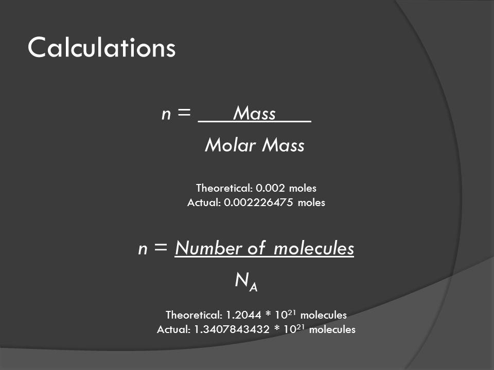 Calculations n = Number of molecules N A n = _ Mass _ Molar Mass Theoretical: 0.002 moles Actual: 0.002226475 moles Theoretical: 1.2044 * 10 21 molecules Actual: 1.3407843432 * 10 21 molecules