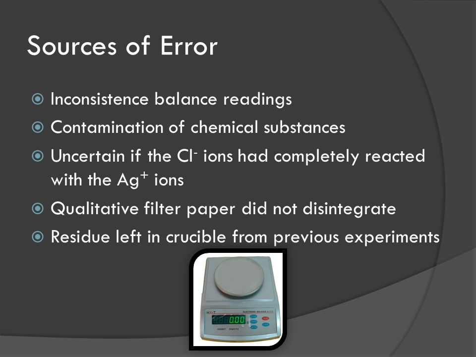 Sources of Error  Inconsistence balance readings  Contamination of chemical substances  Uncertain if the Cl - ions had completely reacted with the