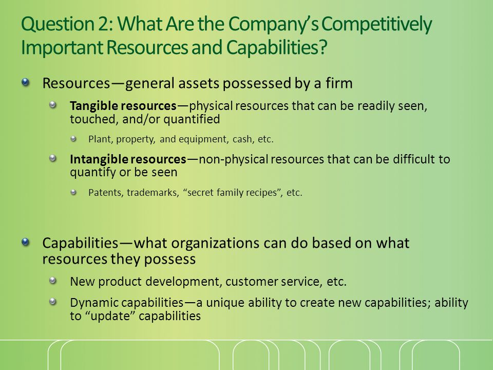 Resources—general assets possessed by a firm Tangible resources—physical resources that can be readily seen, touched, and/or quantified Plant, propert