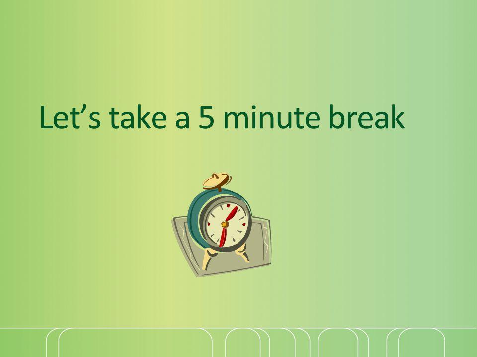 Let's take a 5 minute break