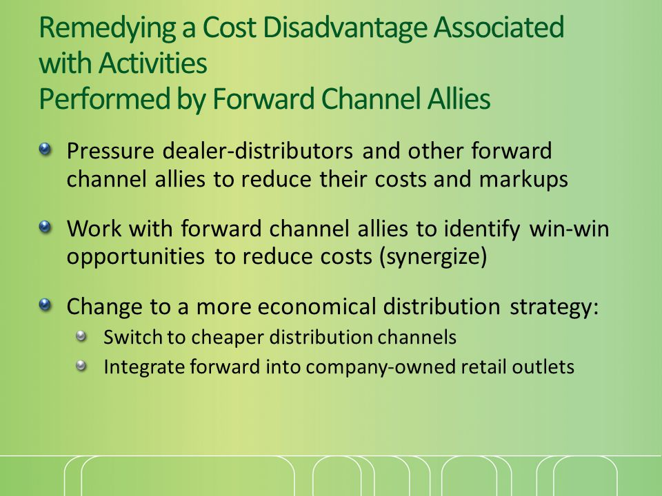 Remedying a Cost Disadvantage Associated with Activities Performed by Forward Channel Allies Pressure dealer-distributors and other forward channel al