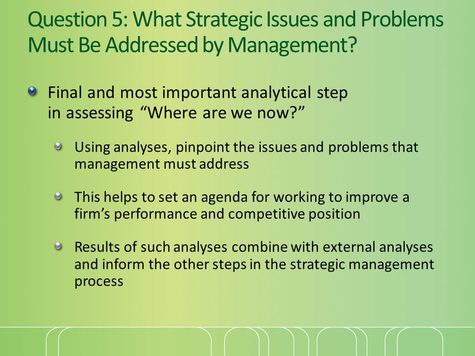 """Question 5: What Strategic Issues and Problems Must Be Addressed by Management? Final and most important analytical step in assessing """"Where are we no"""