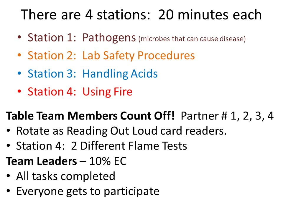 There are 4 stations: 20 minutes each Station 1: Pathogens (microbes that can cause disease) Station 2: Lab Safety Procedures Station 3: Handling Acid