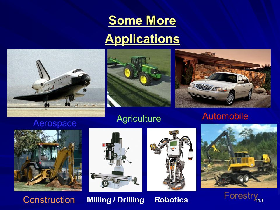 113 Forestry Agriculture Automobile Construction Aerospace Some More Applications Milling / DrillingRobotics