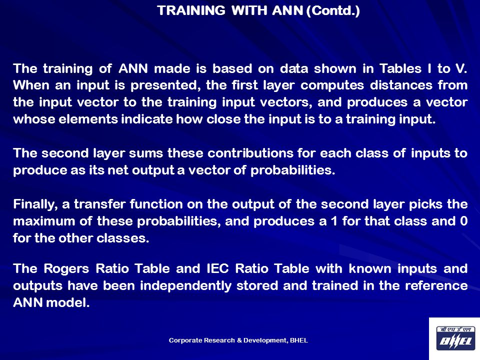 Corporate Research & Development, BHEL The training of ANN made is based on data shown in Tables I to V. When an input is presented, the first layer c