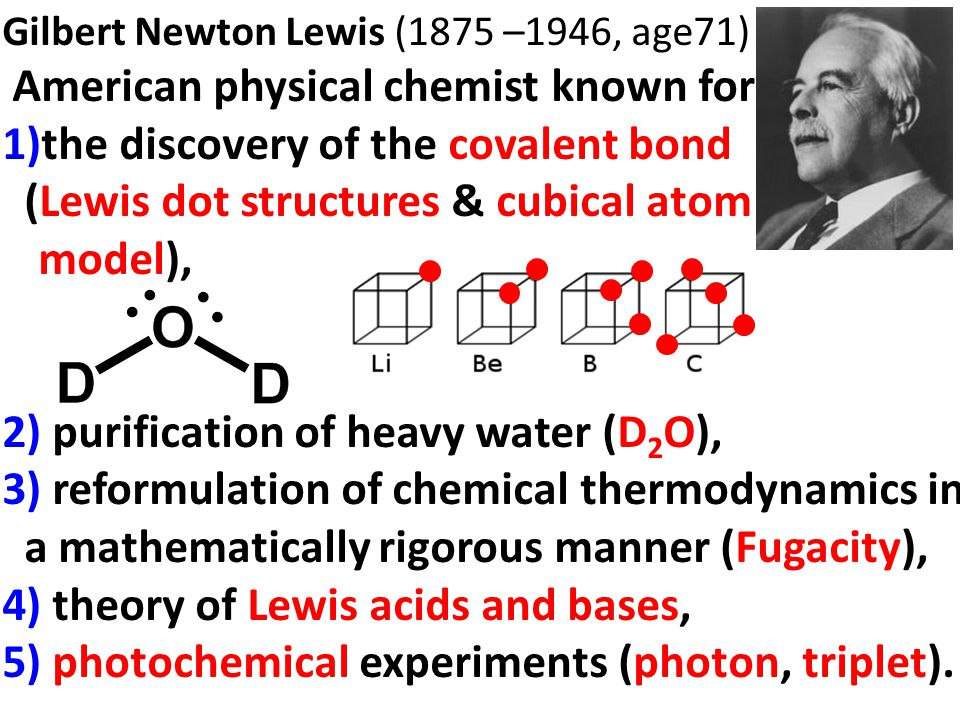 Issue 1) Chemical Bond In 1916(age 41), he published a paper on chemical bonding The Atom and the Molecule in which he formulated the idea of covalent bond, consisting of a shared pair of electrons, and he defined the term odd molecule (free radical) when an electron is not shared.