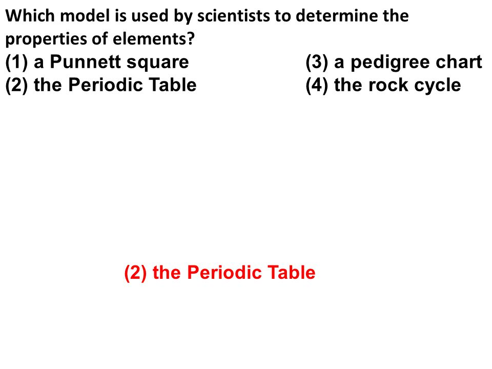 Which model is used by scientists to determine the properties of elements.
