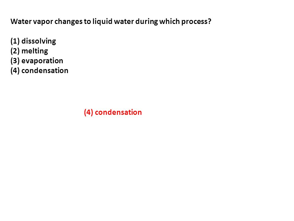 Water vapor changes to liquid water during which process.