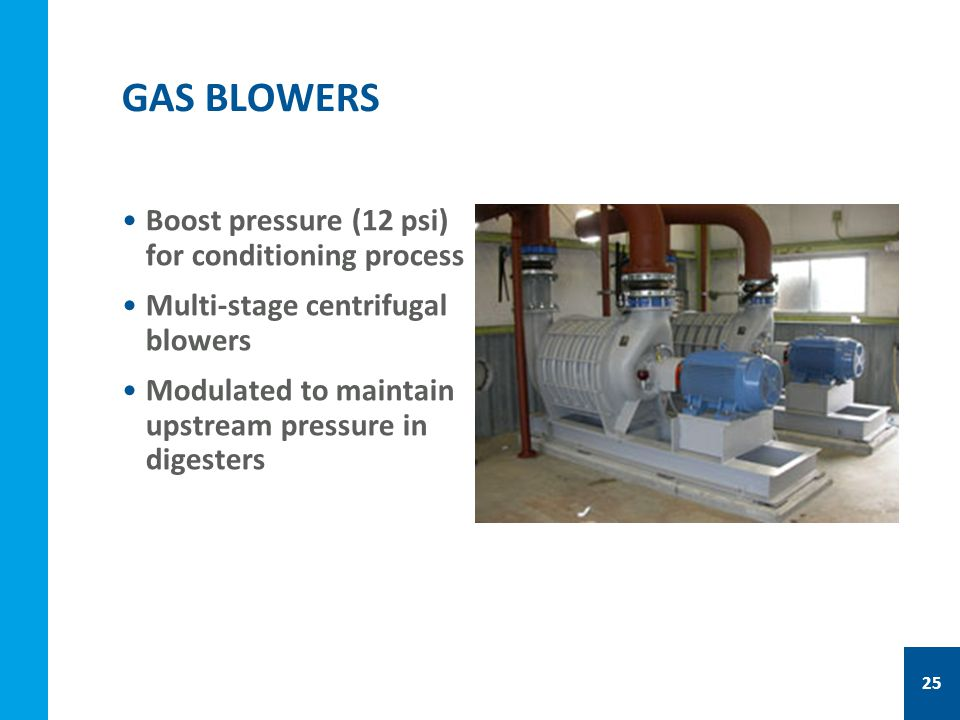 Boost pressure (12 psi) for conditioning process Multi-stage centrifugal blowers Modulated to maintain upstream pressure in digesters GAS BLOWERS 25