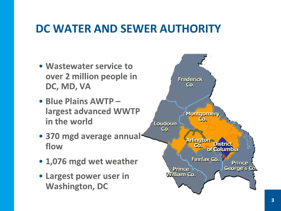 Wastewater service to over 2 million people in DC, MD, VA Blue Plains AWTP – largest advanced WWTP in the world 370 mgd average annual flow 1,076 mgd wet weather Largest power user in Washington, DC 3 DC WATER AND SEWER AUTHORITY