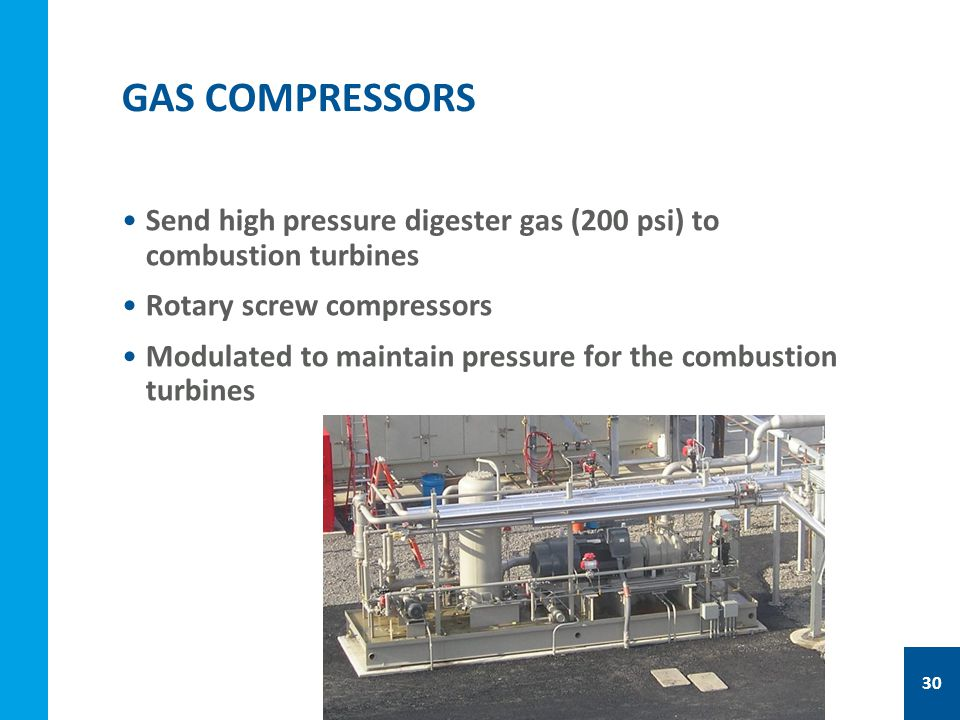 Send high pressure digester gas (200 psi) to combustion turbines Rotary screw compressors Modulated to maintain pressure for the combustion turbines GAS COMPRESSORS 30