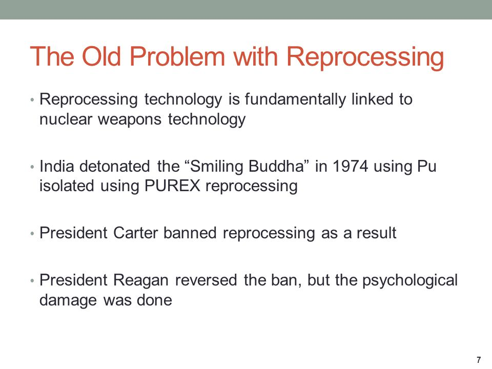 "The Old Problem with Reprocessing Reprocessing technology is fundamentally linked to nuclear weapons technology India detonated the ""Smiling Buddha"" i"