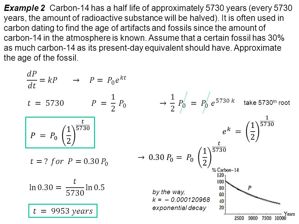 Example 2 Carbon-14 has a half life of approximately 5730 years (every 5730 years, the amount of radioactive substance will be halved).